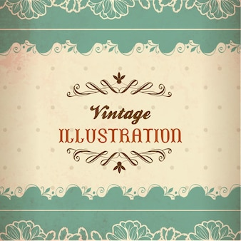 Vintage illustration mit spitze, blumen und typografie