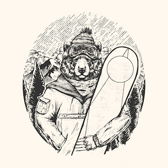 Vintage illustration tragen snowboard
