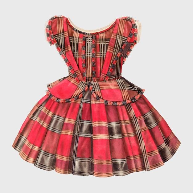 Vintage illustrationsvektor des kleides des mädchens, neu gemischt von der grafik von virginia berge.