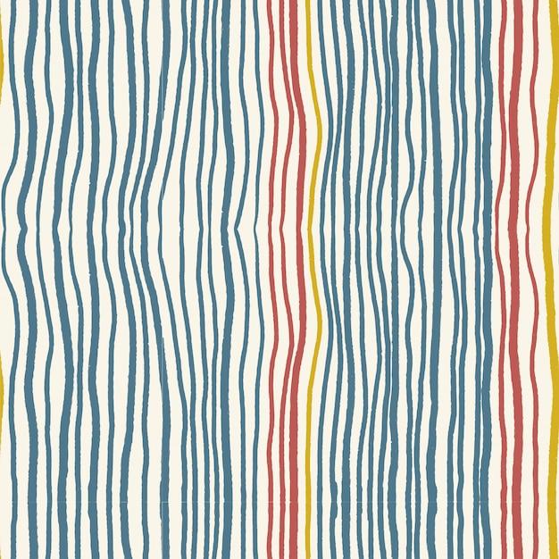 Vintage indigoblau und rot verzerrte welle vertikale linie streifenmuster nahtlos auf hellem cremefarbenem hintergrund.