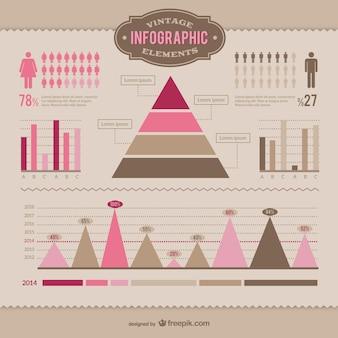 Vintage-infografik-elemente gesetzt
