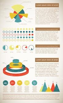 Vintage infografiken elemente in hellen farben, die statistiken mit textfeldern zeigen