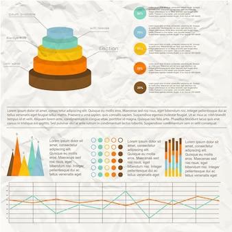 Vintage infografiken mit bunten diagramm- und grafikvorlagen auf zerknittertem papier