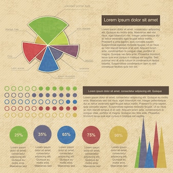 Vintage infografiken mit geschäftsdiagrammen und grafiken