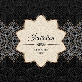 Vintage islamische verzierte karte schwarzer blumenrahmen
