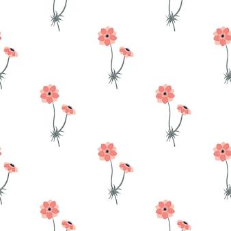 Vintage isoliertes nahtloses muster mit rosa einfachen anemonenblumenformen. weißer hintergrund. abbildung auf lager. vektordesign für textilien, stoffe, geschenkpapier, tapeten.