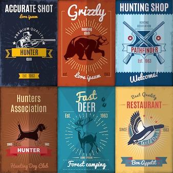 Vintage jagd poster sammlung