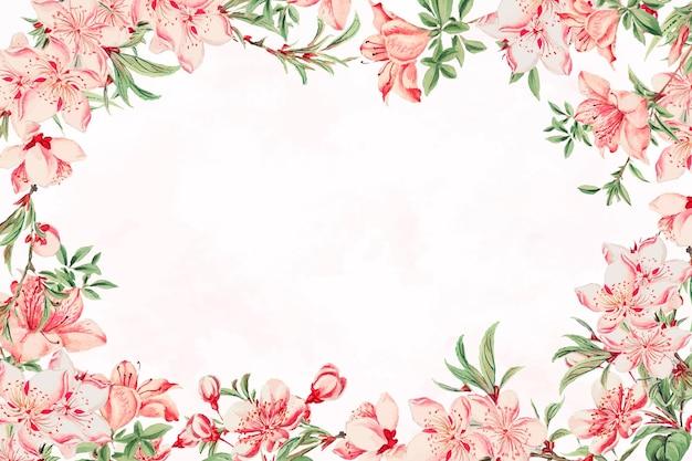 Vintage japanischer blumenrahmen pfirsichblüten-kunstdruck, remix aus kunstwerken von megata morikaga