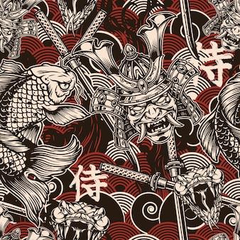 Vintage japanisches nahtloses muster mit katana-schwertschlangenkopf-koi-karpfen und samurai-maske im helm auf traditionellen wellen. japanisch-übersetzung - samurai