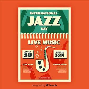 Vintage jazztagesplakatschablone der weinlese