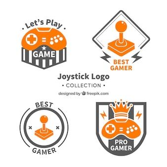 Vintage joystick logo vorlage sammlung