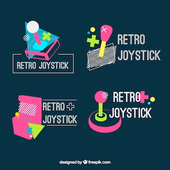 Vintage joystick logos mit geometrischen formen