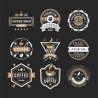 Vintage kaffee-logo-pack