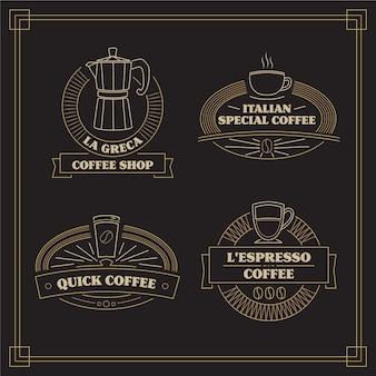 Vintage kaffee-logo-sammlung