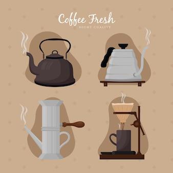 Vintage kaffeebrühmethoden sammlung