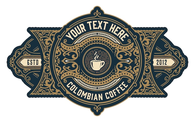Vintage kaffeelogo mit barockverzierungen gesetzt