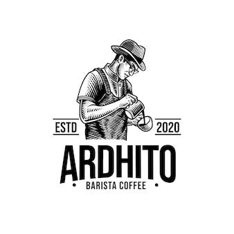 Vintage kaffeemaschine maskottchen logo vektor vorlage