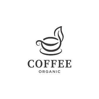 Vintage kaffeetasse mit blatt-logo-design