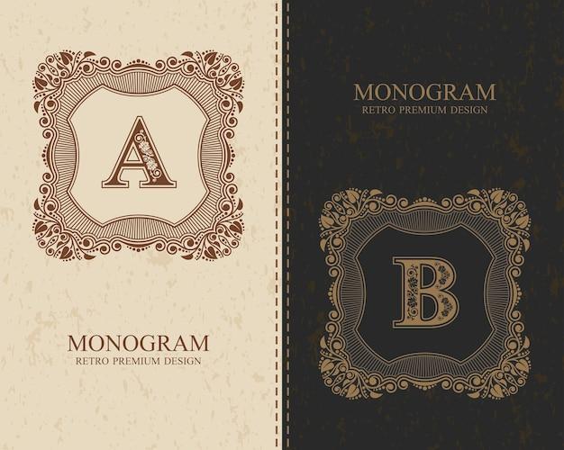 Vintage kalligraphische monogrammbuchstaben a, b, buchstaben des alphabets, abc-konzepttyp als logo