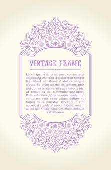 Vintage kalligraphischer blumenrahmen