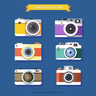 Vintage kamera sammlung flachen design