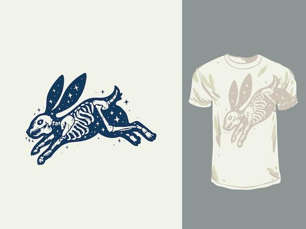 Vintage kaninchen schädel hand gezeichnete illustration
