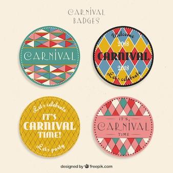 Vintage karneval label / abzeichen sammlung