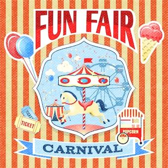 Vintage karneval spaß messe themenpark poster vorlage vektor-illustration
