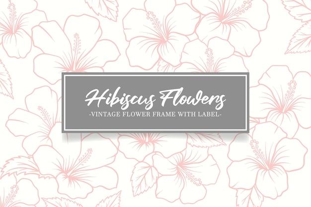 Vintage karte handgezeichnete hibiskusblüten