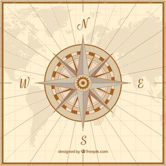 Vintage karte kompass hintergrund
