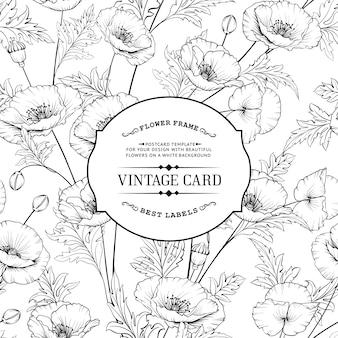 Vintage-karte mit blühenden blumen