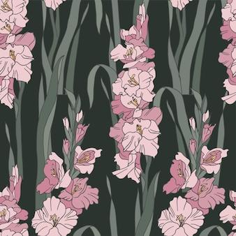 Vintage-karte mit gladiolen-blumen-blumen-hintergrund für kosmetikverpackungen nahtlose muster