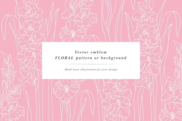 Vintage karte mit gladiolenblüten blumenkranz blumenrahmen für blumenladen mit etikettendesigns