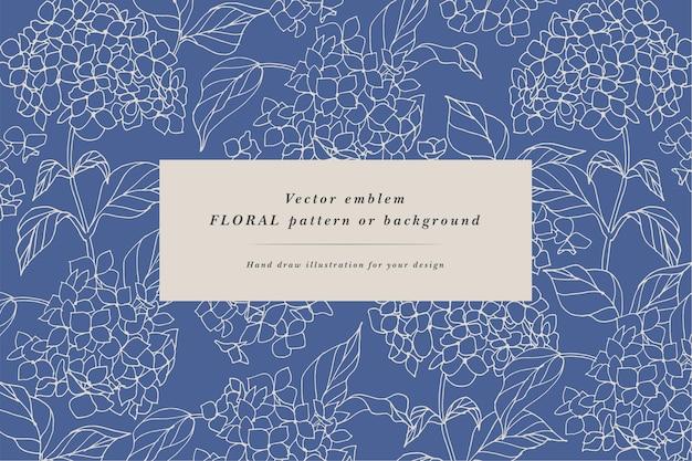 Vintage karte mit hortensienblüten