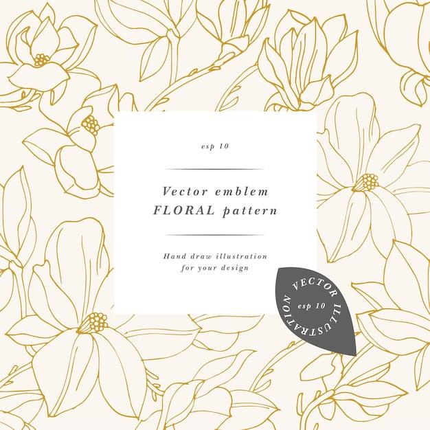 Vintage-karte mit magnolienblüten. blumenkranz. blumenrahmen für blumenladen mit etikettendesigns. sommer-blumen-magnolien-grußkarte. blumenhintergrund für kosmetikverpackungen.