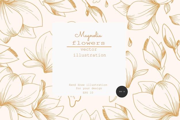 Vintage-karte mit magnolienblüten. etikettendesigns. grußkarte. blumen hintergrund für kosmetikverpackungen. vintage-magnolien-druck.