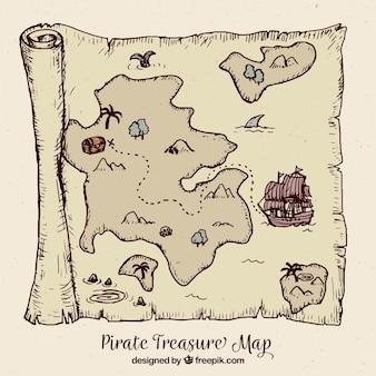 Vintage karte mit piratenschatz