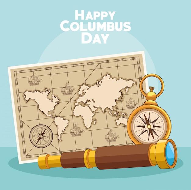 Vintage karte und glücklicher columbus-tagesentwurf