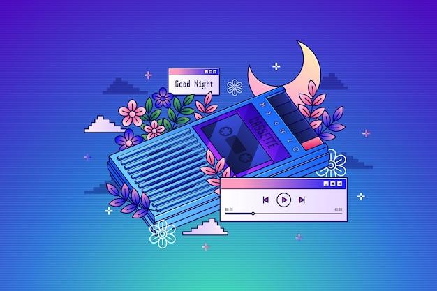 Vintage-kassette mit linearem farbverlauf