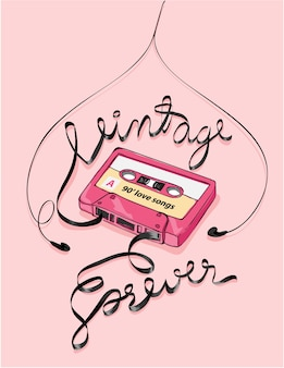 Vintage kassettenbandillustration