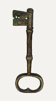 Vintage key illustration vektor, remixed aus dem artwork von edna c. rex