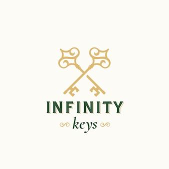 Vintage keys mit infinity swirls. abstrakte vektorzeichen-, symbol- oder logo-schablone