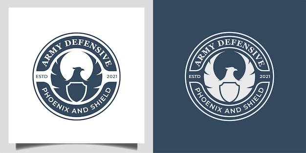 Vintage klassisches abzeichen mit silhouette phönix oder adler und schildsymbol für armee-verteidiger-logo-design