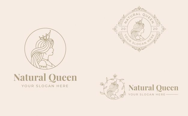 Vintage königin logo design mit abzeichen vorlage