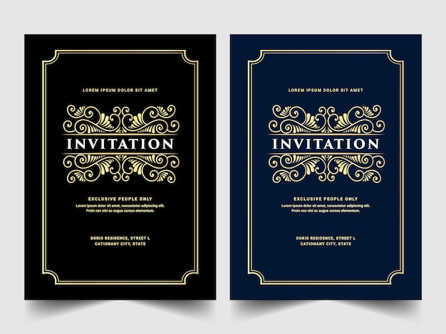 Vintage königliche und luxus set der einladungskarte für hochzeitstag geburtstagsfeier feier blumenstrudel dekorative dekorative kartenvorlage