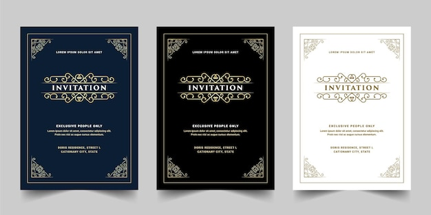 Vintage königliche und luxus set der einladungskarte