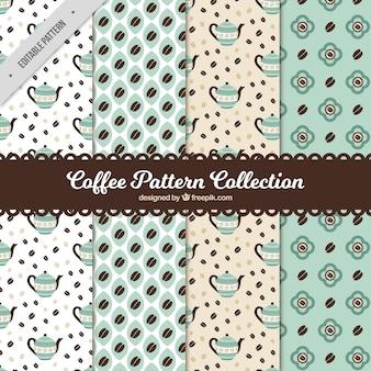 Vintage-kollektion von kaffee-muster