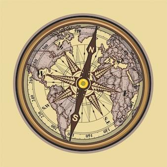 Vintage kompass abbildung