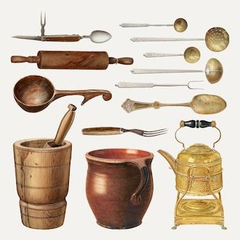 Vintage-küchengeschirr-vektor-illustration, neu gemischt aus der public domain-sammlung