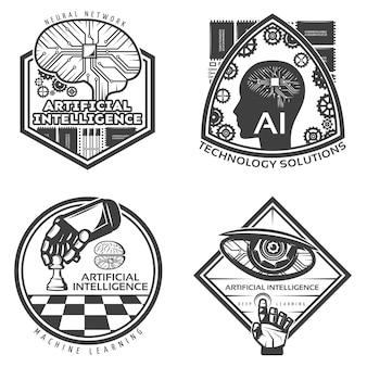 Vintage künstliche intelligenz abzeichen set